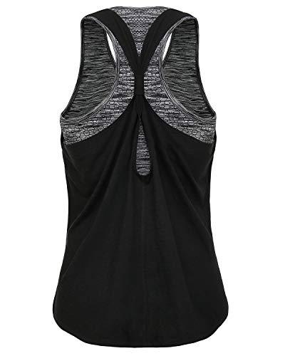 FAFAIR Tanktop Damen Schwarz mit integriertem BH Sport Oberteil Yoga Shirts Lauftop Black&Gray L