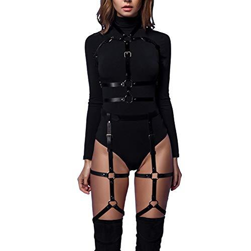 sigando Damen Punk Leder Body Harness Brustgurte Taille Bein Caged Lingerie Strumpfband(BP5)