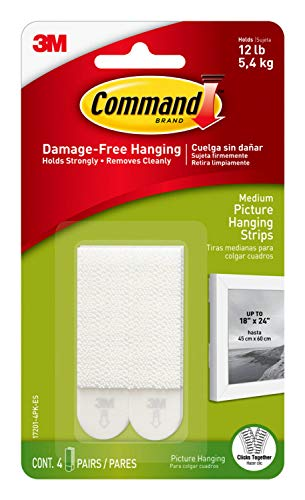 Command Picture Hanging Strips, Medium, White, Holds up to 12 lbs, 6-Pack (24-Pairs Total)