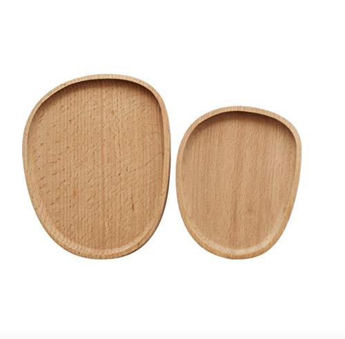 anaan Pebble Piatto in Legno Rotondo Set di 2 Vassoio da Portata Servire Scodella tavola Ecologica Decorazione Design