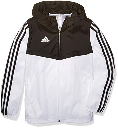 adidas Jungen Tiro Windbreaker, Jungen, Jacke, Alphaskin Tiro Youth Windbreaker, weiß / schwarz, Medium