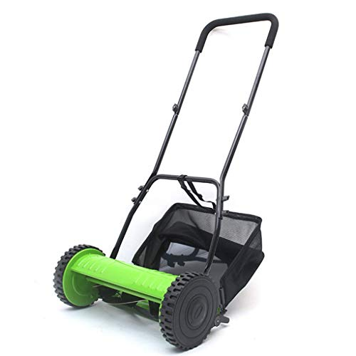 12-Inch Push Reel Lawn Mower, Home Yard Weeder with Grass Collector, Green JIAJIAFUDR
