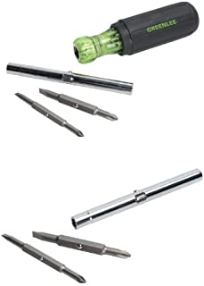 Greenlee 0153-42C Multi-Tool Screwdriver, 6 in 1 & Greenlee 9953-13 6 in 1 Screwdriver Replacement Bits