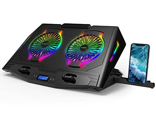 ICE COOREL Base di Raffreddamento PC Portatile, ventole per pc Portatile con Illuminazione RGB per Laptop 11-21', Raffreddamento Notebook 2 Ventole a Forte Flusso d'Aria, 5 Regolabile in Altezza