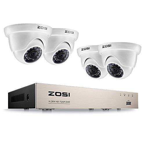ZOSI 1080P Außen Überwachungssystem 8CH 1080N TVI DVR Recorder mit 4 Outdoor Weiß Dome 1080P Video Überwachungskamera Set Haussicherheit System Ohne Festplatte, Wetterfest