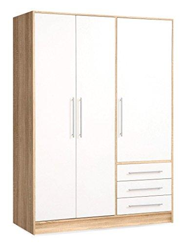 expendio Kleiderschrank Junis 1 weiß Sonoma Eiche 145x200x60 cm Schlafzimmerschrank Drehtürenschrank Schrank Schlafzimmer