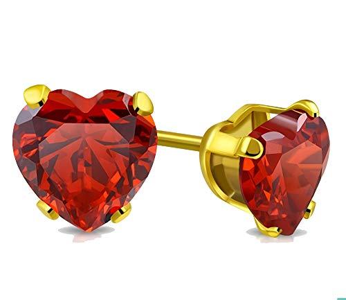 Tata Gisèle - Pendientes de acero inoxidable dorado y cristal rojo oscuro en forma de corazón