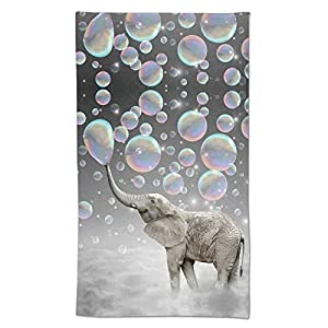 Ultra Soft Highly Absorbent Hand Towels, Funny Elephant with Bubble Grey Pattern Oil Painting Bathroom Towel for Sports Home Decor, 27.5 x 15.7 Inches