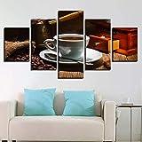 WPHRL Stampe su Tela 5 Pezzi Tazza di caffè 100cm(W x50cm(H) Canvas Dipinti Moderni di Wall Art Home Decor for Living Room con Cornice