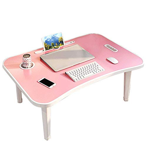 XDXDO Portable Folding Computer Desk, Moisture-Proof Strong Load-Bearing Easy to Clean Bed Desk with Card Slot and Handle, for Camping Dormitory