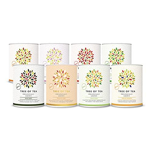 Tree of Tea Tee-Geschenkset mit verschiedenen Tee-Sorten von mymuesli – 8er Probierpaket in grauer Geschenkbox – 8 kleine Teedosen (6x 20g, 2x 30g) mit losem Bio-Tee