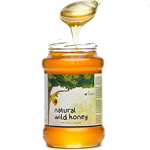 Hi Honey Raw Organic Wild Honey | an Ayurvedic Remedy for Weight Loss, Cough and Digestive Problems (530gm) - Glass Jar (Raw...
