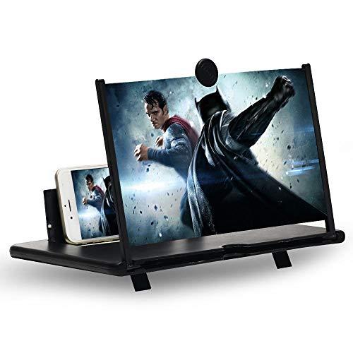 KONGMING Bildschirmlupe, 12''Stretch Design Bildschirm Handybildschirm, geeignet zum Ansehen von Filmvideos auf Allen Smartphones