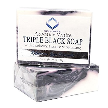 Relumins Professional Spa Formula Triple Action Black & White Whitening Soap - Maximum Whitening for Normal & Sensitive Skin Relieve Itchy Skin and Provide Firmness