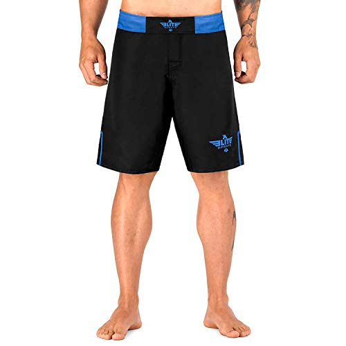 Elite Sports Men's MMA Fight Shorts, Black Jack UFC, BJJ, No Gi, Grappling, Jiu Jitsu Shorts (Blue, X-Small)