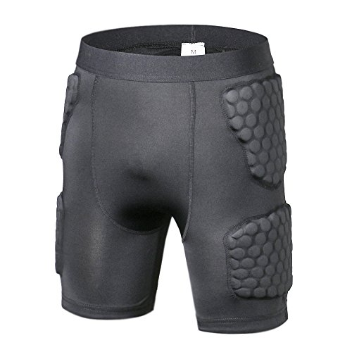 TUOY Mens Boys Padded Compression Short Hip Protector for Football Paintball(XL) …
