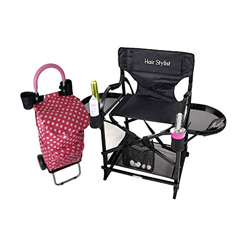 TuscanyPro Portable Hairstylist Chair & Trolley Storage Cart - Perfect for Hair Stylists, Salons, Movie Sets and More - Italian Design - 10 Years Warranty - US Patented - 22 Inch Seat Height