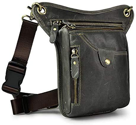 Hebetag Leather Waist Pack Drop Leg Bag for Men Women Belt Bumbag Multi-Purpose Motorcycle Bike Outdoor Sports Tactical Cycling Riding Hiking Camping Thigh Crossbody Shoulder Sling Bag Pouch