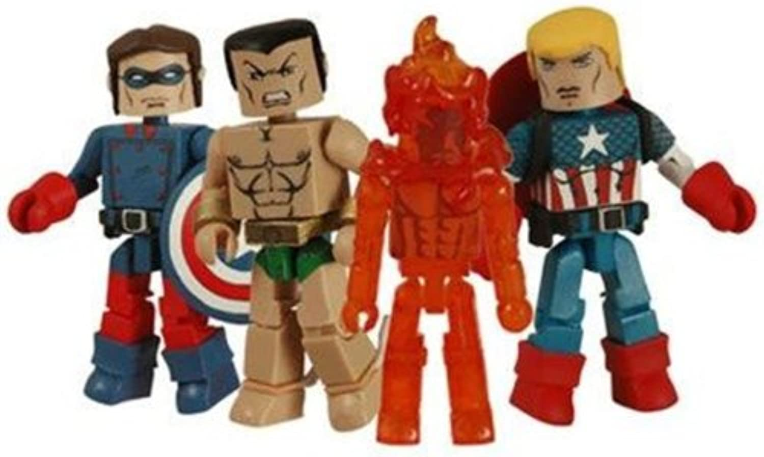 Diamond Select Toys Marvel Minimates 2009 SDCC San Diego ComicCon Exclusive Mini Figure 4Pack Invaders Captain America, Bucky, Human Torch Namor
