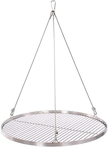 55 cm Grillrost Edelstahl für Schwenkgrill 3 Bein BBQ Grillstab 4 mm Rost mit Seil (höhenverstellbar)15 mm Stababstand