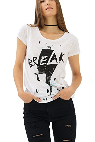 trueprodigy Casual Mujer Marca Camiseta con impresión Estampada Ropa Retro Vintage Rock Vestir Moda Cuello Redondo Manga Corta Slim Fit Designer Fashion T-Shirt, Colores:White, Tamaño:XS