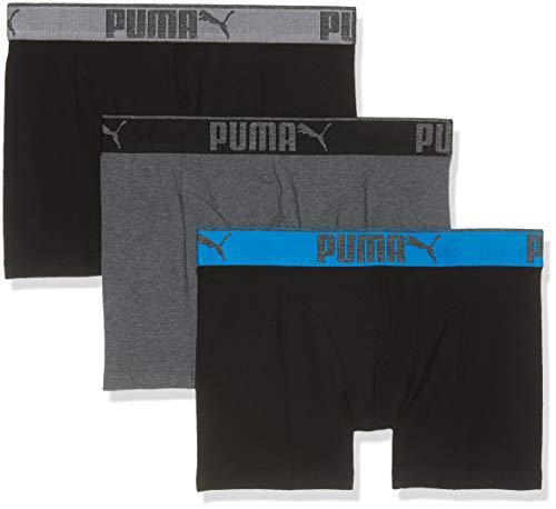 Puma Herren Lifestyle Sueded Cotton 3p Box Boxershorts, Mehrfarbig (Dark Grey Mélange/ Black 691), XX-Large, (3erPack)