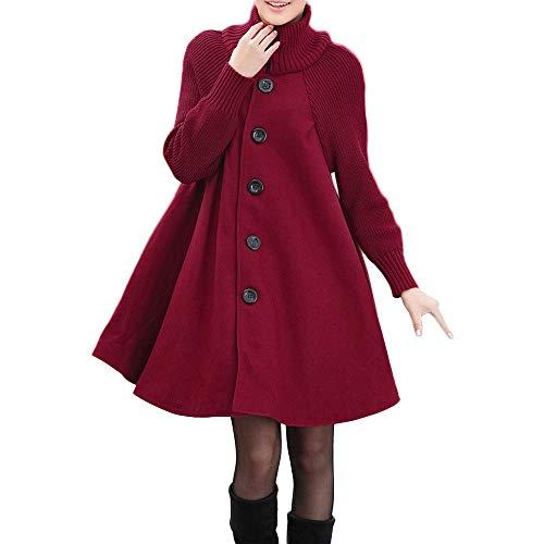 Abrigos de otoño Invierno, Dragon868 Junior Chicas Mujeres más tamaño sólido botón de Bolsillo Vestidos Sueltos Camisa Chaquetas Cardigan(Rojo,XXL)