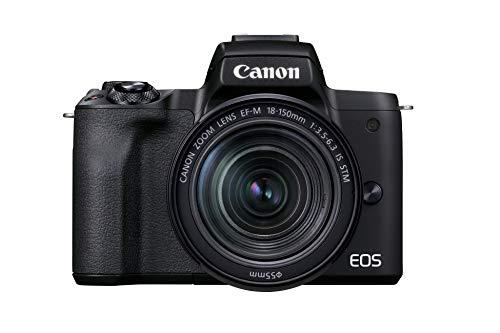 Canon EOS M50 Mark II + lente EF-M 18-150 mm F3.5-6.3 IS STM (24.1 MP, pantalla táctil LCD de 7.5 cm, WLAN, HDMI, Bluetooth, sistema de AF CMOS de doble píxel, AF de ojo, video 4K, EVF OLED ), negro