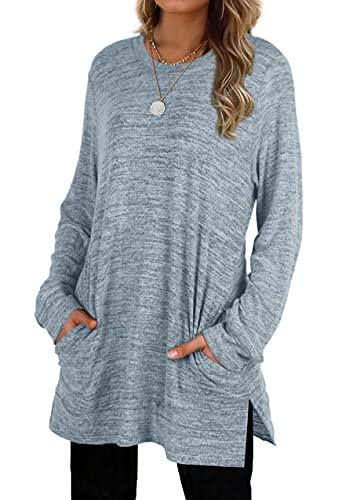Plus Size Sweatshirts For Women Oversized Long Tunic Tops Shirt Loose Winter Blue-Grey XL