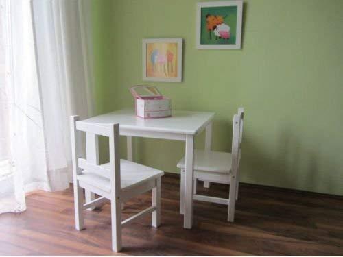 Best-of-JAM Kindersitzgruppe Kindertisch mit 2 Kinderstühlen aus Massivholz Weiss