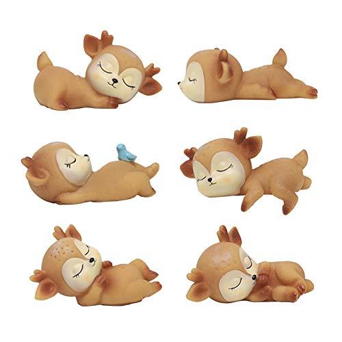 DOYIFun Pack of 6 Lovely Fawn Doe Figurines Playset Toys, Cute Deer...