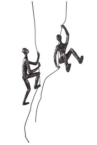 2 x Skulptur Scramble antik finish Metallseil z. Hängen, Figur, Kletterer, Deko