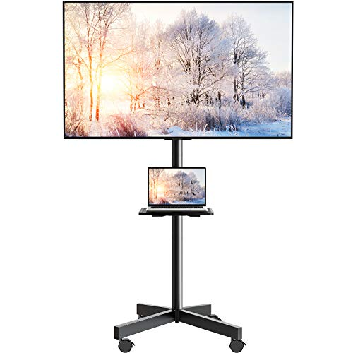 Mobile TV Cart on Wheels for 23 to 55-inch LED Flat Screen/Curved TVs Tilting TV Stand with Height Adjustable Shelf Max VESA 400x400mm Rolling Floor TV Trolley Holds up to 88lbs PGTVMC06