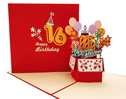 iGifts And Cards Happy 16th Birthday Party Box 3D Pop Up Grußkarte (Roter Einband) – Sixteen, Awesome, Luftballons, einzigartig, Feier, Feliz Cumpleaños