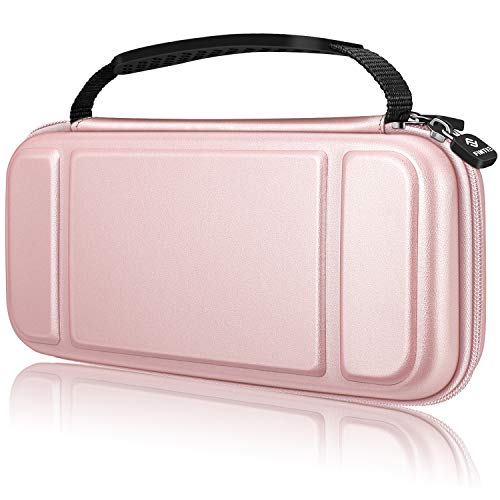 Fintie Carry Case for Nintendo Switch Lite 2019 - [Shockproof] Hard Shell Protective Cover Bag with 15 Game Card/2 Micro SD Card Slots, Inner Pocket for Switch Lite Console & Accessories, Rose Gold