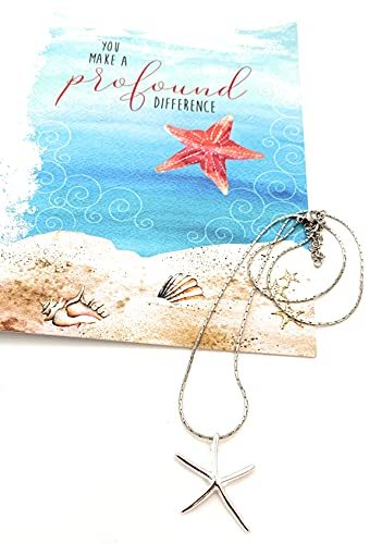 Smiling Wisdom - Starfish Silver Necklace Gift Set - You Make a Profound Difference Story Card - Appreciation, Thanks, Thank You - Woman Friend, Teacher, Volunteer, Caregiver, Coach, Mentor - Silver