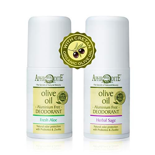 Set 2 pcs desodorante roll-on APHRODITE. Kit desodorante sin aluminio. Fórmula natural de protección contra los olores con aceite de oliva orgánico.