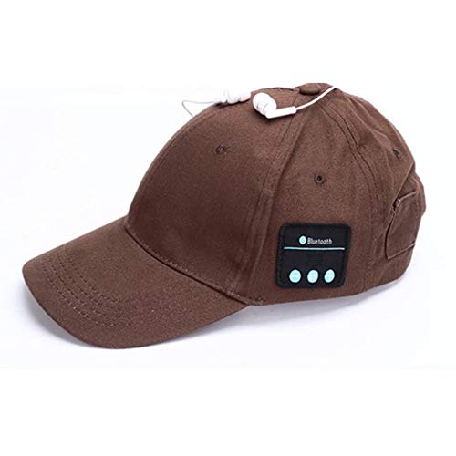 LETAMG Hut Headset Kopfhörer mit Mic Hand-freies Musik Mp3 Sport Smart Kappe Baseball Kappe Headset Sport Hut Bluetooth Hut Kappe (Kaffee)