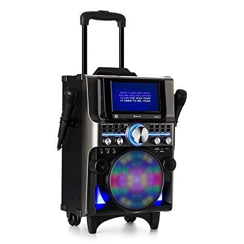 auna DisGo Box 360 - Party Karaokeanlage, Karaoke-Player, 350 Watt max. 2 x Mikrofon, HDMI, Bluetooth, USB, Tablet-Halterung, Akku, schwarz