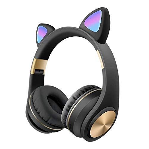 Komopesu Auriculares inalámbricos plegables con micrófono y control de volumen, compatibles universales para teléfonos inteligentes, portátiles, PC, TV, color negro