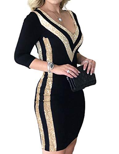 Ninimour Women Fashion Sequins Colorblock Long Sleeve Dress S Black