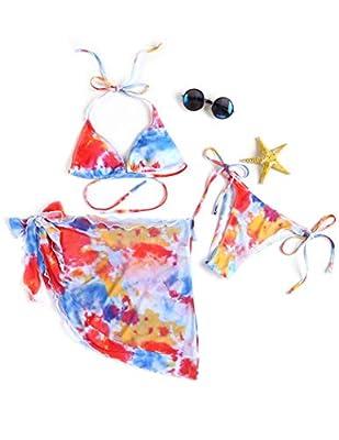 Ekouaer Women's 3 Piece Tie Dye Underwire Bikini Set Swimsuit Bathing Suit and Cover Up Beach Skirt Red Tie Dye X-Large