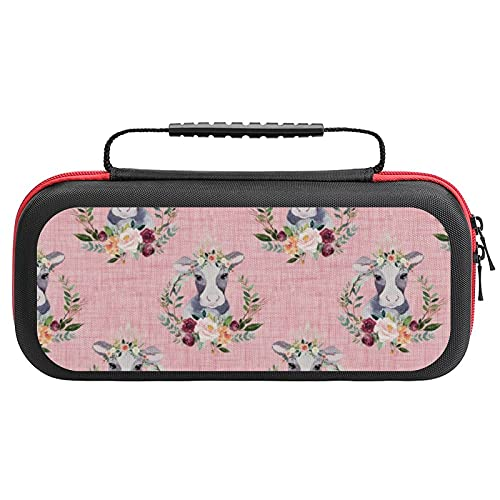 Paprika Floral Cow On Pink Linen Inches Case Compatible with Switch Case Protective Carry Bag Hard Shell Storage Bag Portable Travel Case for Switch Console Games Accessories
