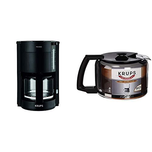 Krups F30908 ProAroma Filterkaffeemaschine mit Glaskanne | 1,25L Füllmenge | 10-15 Tassen | 1050W | Schwarz & F03442 Glaskrug Espresso-/Kaffeemaschinenzubehör mit Deckel, 10 Tassen, schwarz