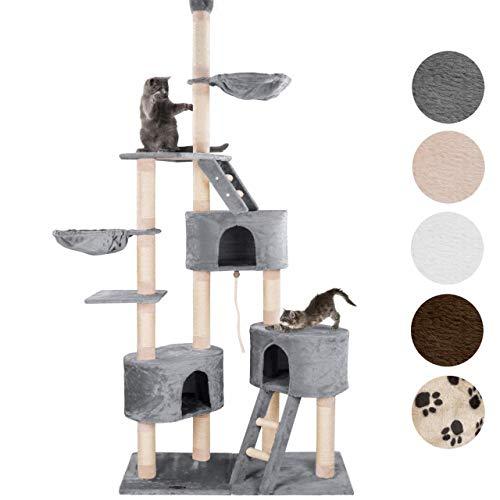 happypet® Kratzbaum für Katzen deckenhoch CAT027-4 verstellbar 230-260 cm hoch, großer Kletterbaum Katzenbaum, Sisalstämme ca. 8 cm, Haus, Liegemulde, Treppe, Spielseil, Deckenspanner, GRAU