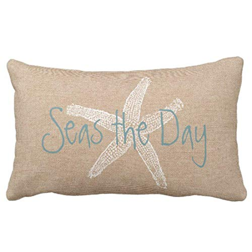 Emvency Throw Pillow Cover Seas The Day Vintage Beach Starfish On Canvas Look Decorative Pillow Case Whimsical Home Decor Rectangle Queen Size 20x26 Inch Cushion Pillowcase