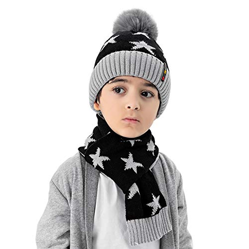 TAGVO Winter Kinder Stricken Mütze Schal Set, Elastisch Warm Beanie Hut mit Dick...