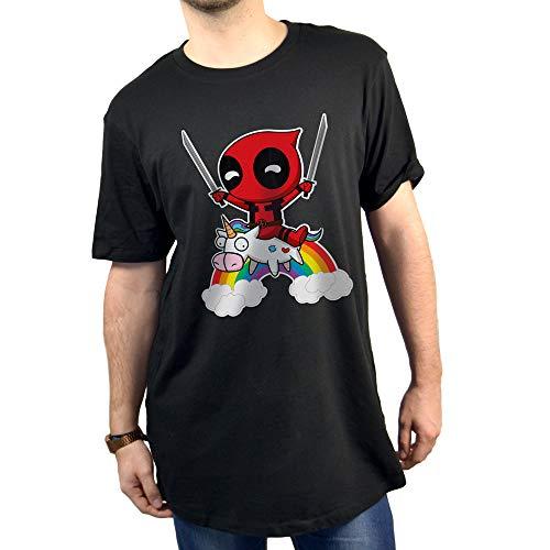SUPERMOLON Camiseta Unisex Deadpool Unicornio S Negro Long