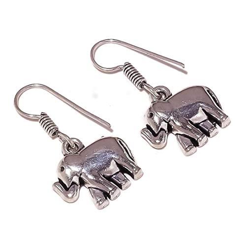 Elephant Earrings Silver Overlay Handmade Drop Dangle Earrings Best Gift for Women Girls