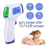 AGM Thermomètre Frontal, Thermomètre Numérique Infrarouge Sans Contac avec Affichage à LCD, Thermomètre Médical Fièvre pour Bébé, Enfants, Adulte